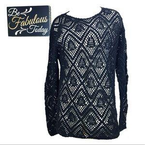Vintage Black Crochet Pullover Top